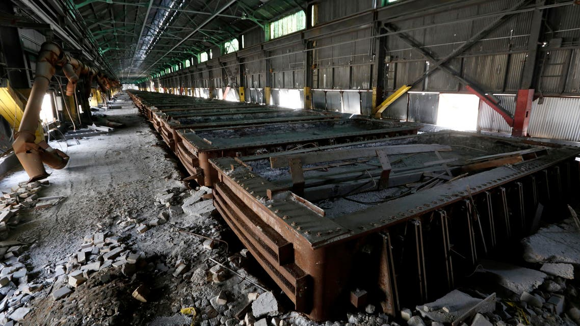 This Thursday, Sept. 8, 2016, photo shows the pot line that housed the reduction cells for the former Ormet plant, at the site in Hannibal, Ohio. For decades, many workers in the area found work at the aluminum plant...union jobs, with good pay and generous benefits. But due to stiff price competition from China, the plant closed in 2014. (AP)