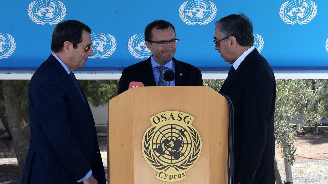 Cypriot President Nicos Anastasiades, left, breakaway Turkish Cypriot leader Mustafa Akinci, right, and UN Special Advisor of the Secretary-General Espen Barth Eide are seen during a statement after Their talks aimed at reunifying the ethnically divided island (Photo: AP /Petros Karadjias)