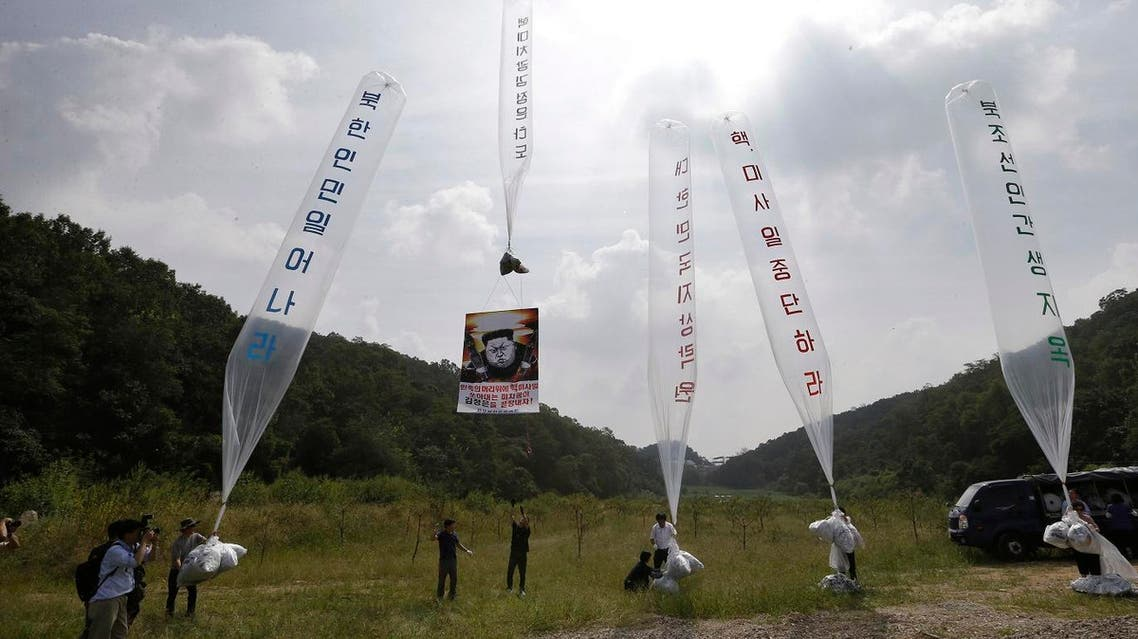 South Korean Activists have been carrying out leafleting exercises using giant helium balloons for years. (AP)