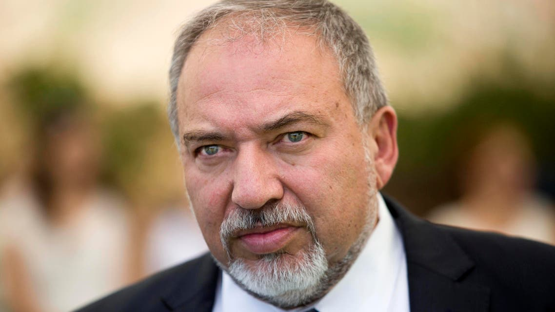 Israeli Defense Minister Avigdor Lieberman attends a special cabinet meeting to mark Jerusalem Day in Ein Lavan, on the outskirts of Jerusalem, Thursday, June 2, 2016. (Abir Sultan/Pool Photo via AP)