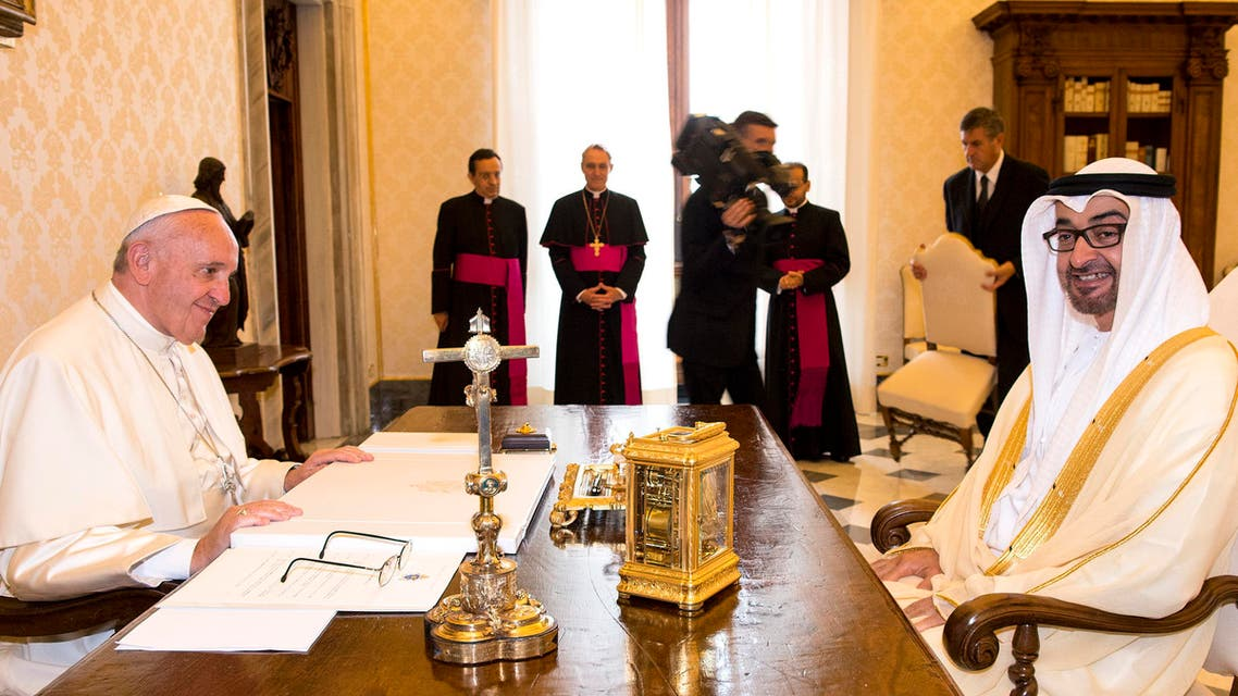 Pope Francis and Crown Prince of Abu Dhabi and Deputy Supreme Commander of the UAE Armed Forces Sheikh Mohammed bin Zayed al-Nahyan on the occasion of their private audience, at the Vatican, on Sept. 15, 2016. (AP)