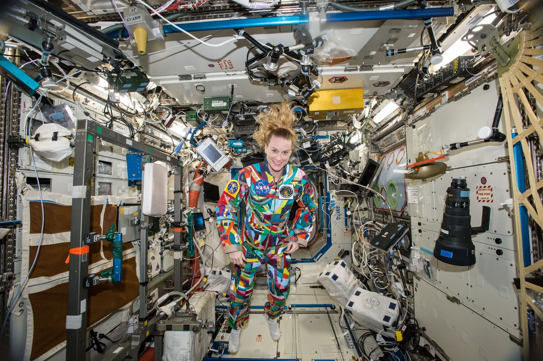 NASA astronaut Kate Rubins aboard the International Space Station on Sept. 16, 2016. (NASA via AP)