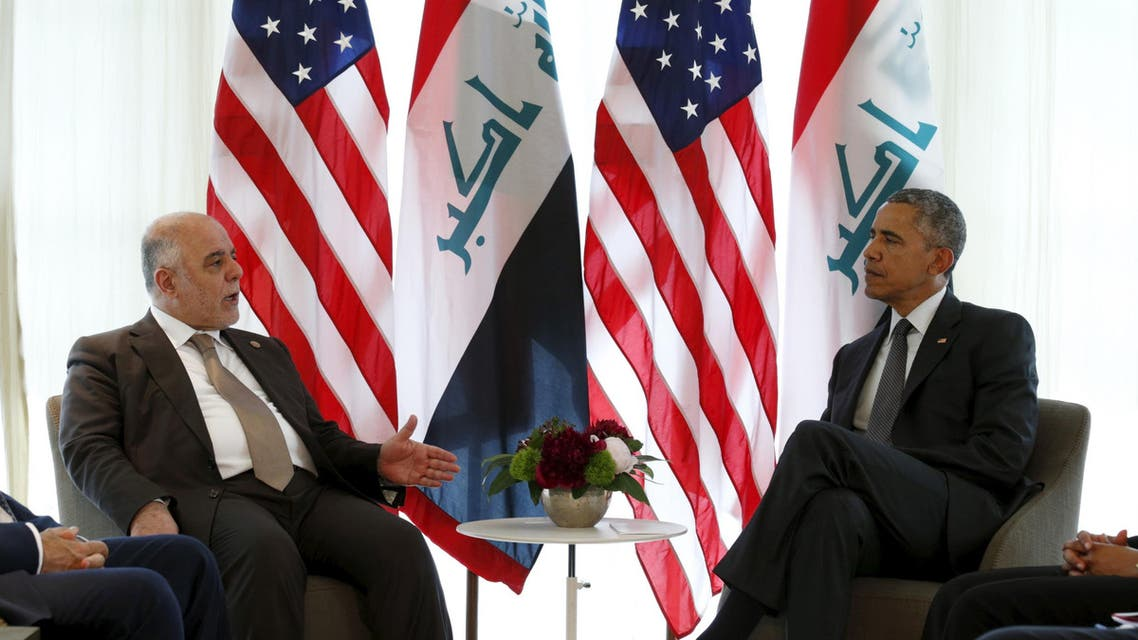 U.S. President Barack Obama (R) meets with Iraqi Prime Minister Haider al-Abadi during the Group of Seven (G7) Summit in the Bavarian town of Kruen, Germany June 8, 2015. REUTERS