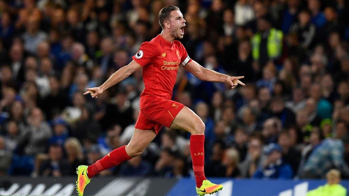 Liverpool's Jordan Henderson celebrates scoring their second goal. (Reuters)