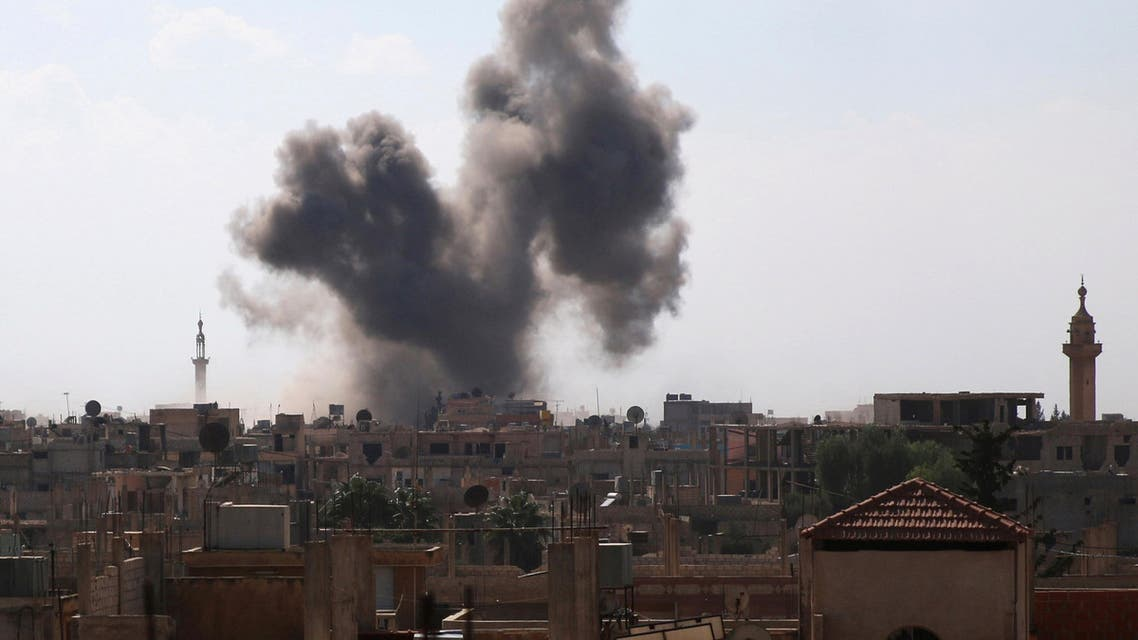Smoke rises after an airstrike in the rebel-held town of Dael, in Deraa Governorate, Syria September 5, 2016. REUTERS