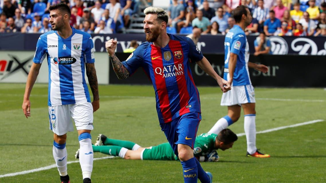 Barcelona's Lionel Messi celebrates goal. REUTERS
