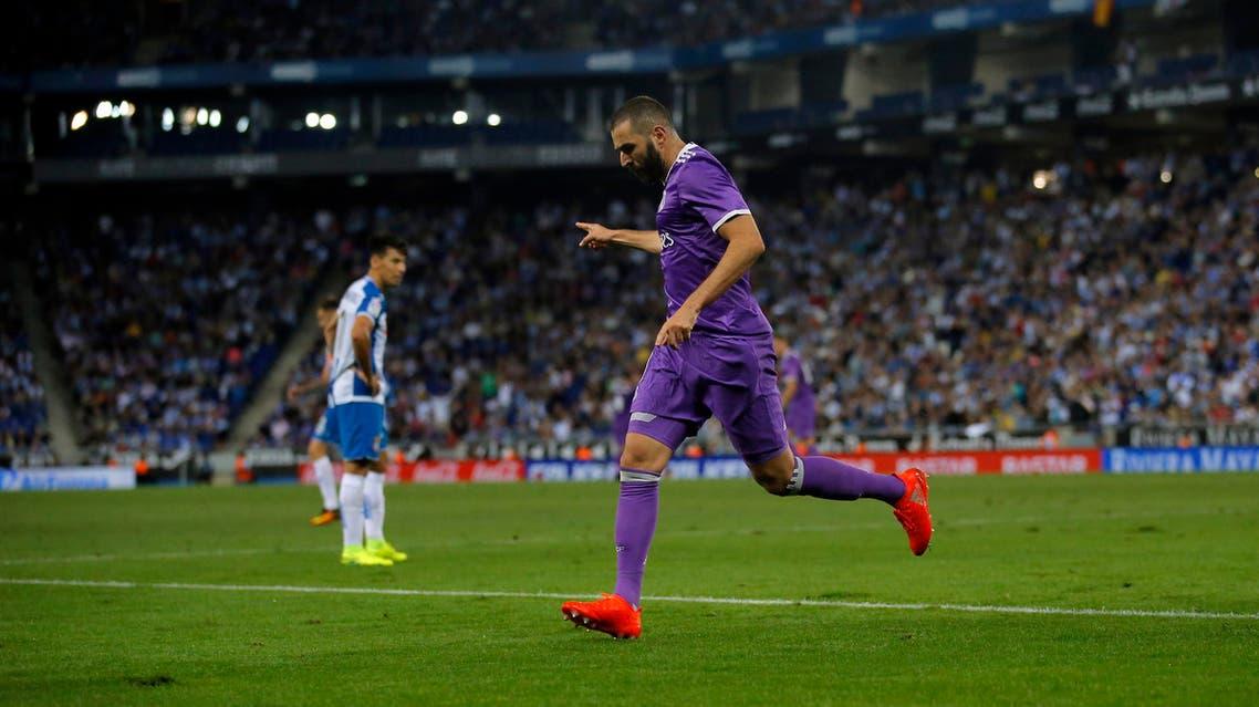 Real Madrid's Karim Benzema reacts after scoring during the Spanish La Liga soccer match between Espanyol and Real Madrid at RCDE stadium in Cornella Llobregat, Spain, Sunday, Sept. 18, 2016. (AP)