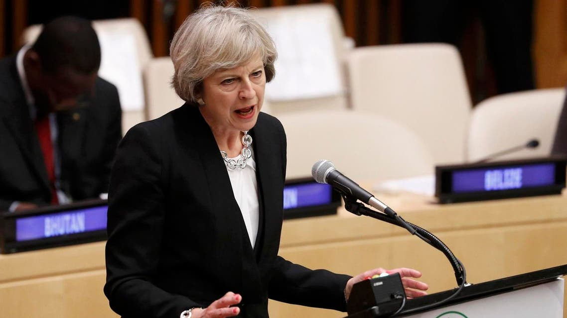 Britain's Prime Minister Theresa May speaks during a high-level meeting on addressing large movements of refugees and migrants at the United Nations General Assembly. (Reuters)