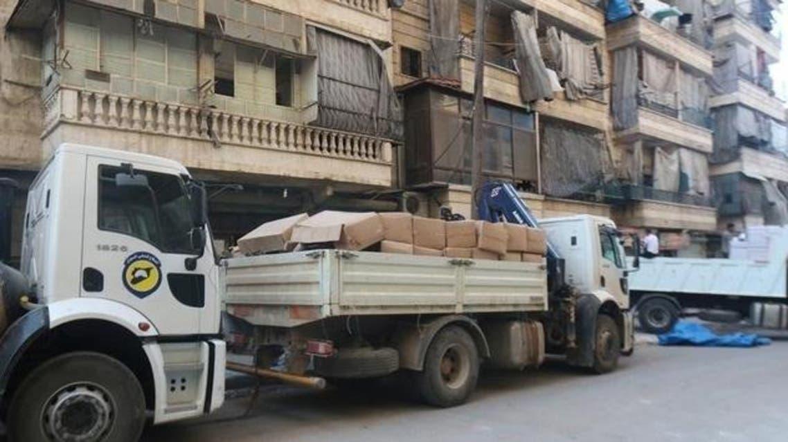 شاحنات إغاثة قرب حلب