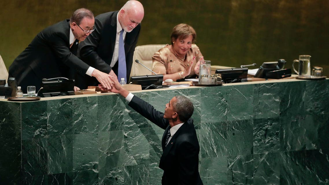 United States President Barack Obama (right), greets Secretary-General Ban Ki-moon (left), and General Assembly president Peter Thomson after speaking at the 71st session of the United Nations General Assembly, Tuesday, Sept. 20, 2016, at UN headquarters. AP