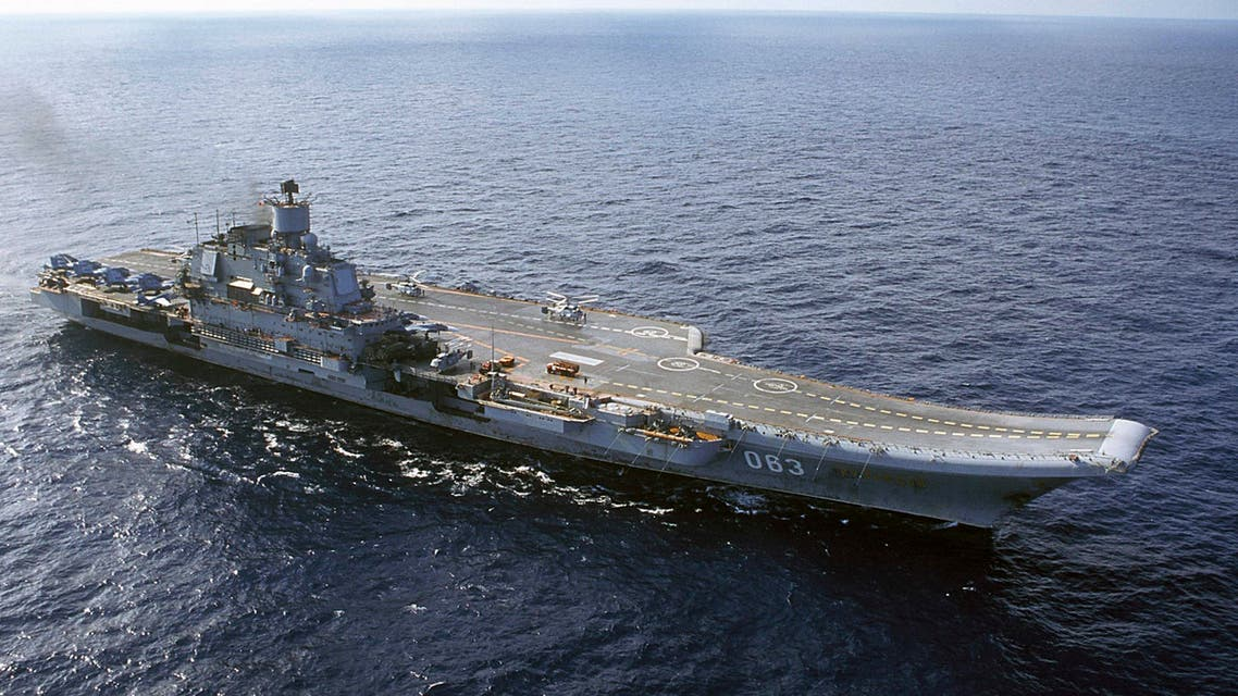 The Admiral Kuznetsov carrier seen in the Barents Sea, Russia. Defense Minister Sergei Shoigu said on Wednesday, Sept. 21, 2016, that the navy will send its only aircraft carrier, the Admiral Kuznetsov, to the eastern Mediterranean to join other Russian ships deployed near the Syrian shores. (File photo: AP)