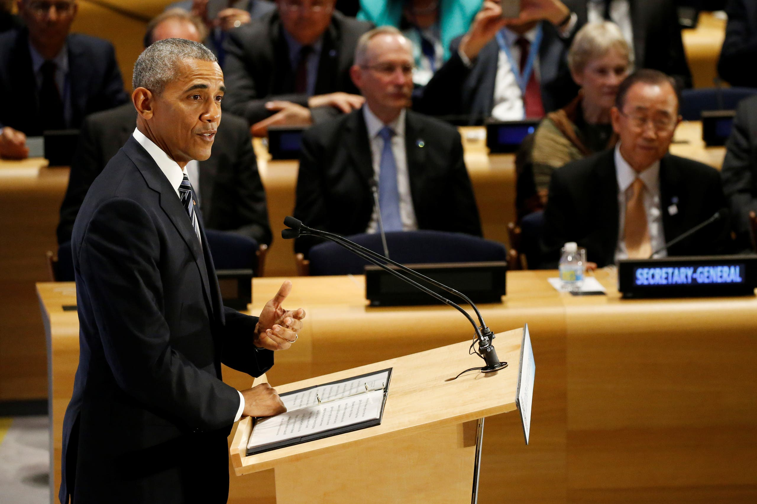 U.S. President Barack Obama speaks during a High Level Leaders Meeting on Refugees on the sidelines of the United Nations General Assembly at United Nations headquarters in New York City, U.S. September 20, 2016. REUTERS