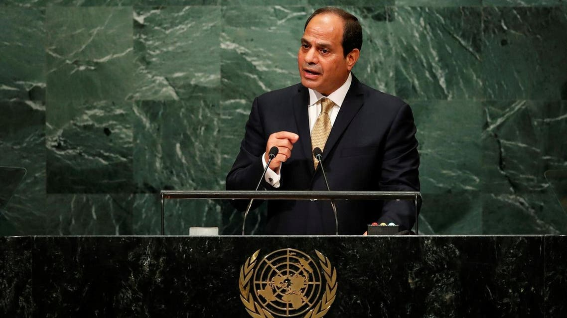 Egyptian President Fattah al-Sisi addresses the United Nations General Assembly in the Manhattan borough of New York. (Reuters)