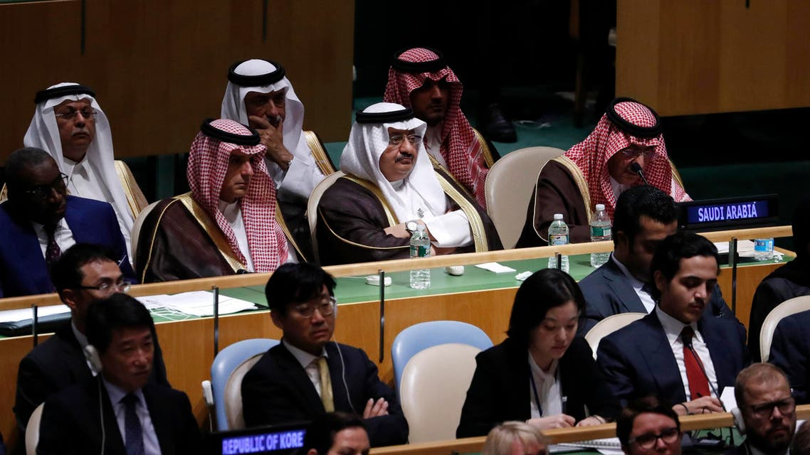 Saudi Arabia's Prince Abdullah Bin Faisal (C) listens as U.S. President Barack Obama speaks during the 71st United Nations General Assembly in Manhattan, New York, US September 20, 2016. REUTERS