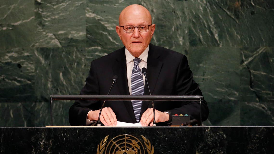 Prime Minister Tammam Salam of Lebanon addresses attendees during the 70th session of the United Nations General Assembly at the U.N. Headquarters in New York, September 30, 2015. REUTERS/Mike Segar