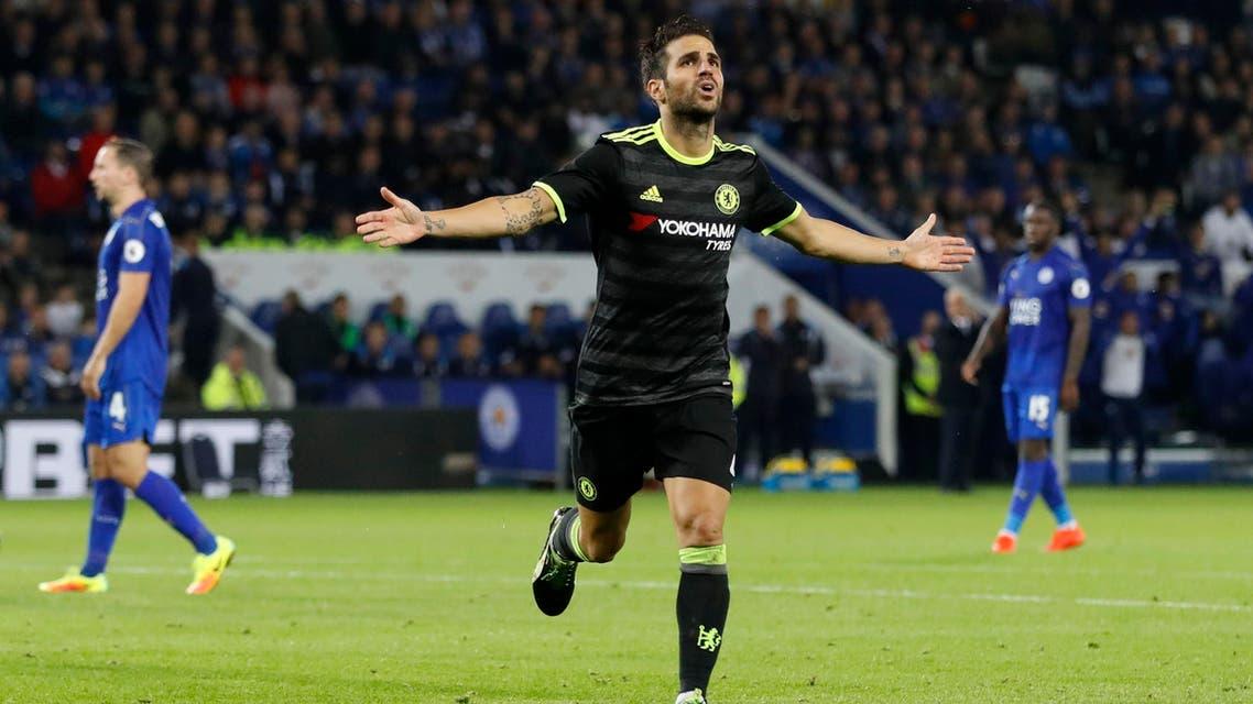 Chelsea's Cesc Fabregas celebrates scoring their third goal. (Reuters)
