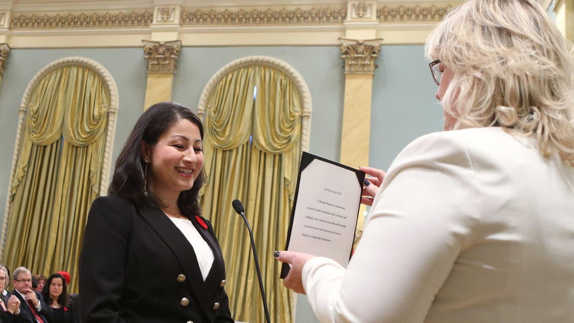 The 31-year-old democratic reform minister, Maryam Monsef, is the youngest member of Trudeau's cabinet. (AFP)