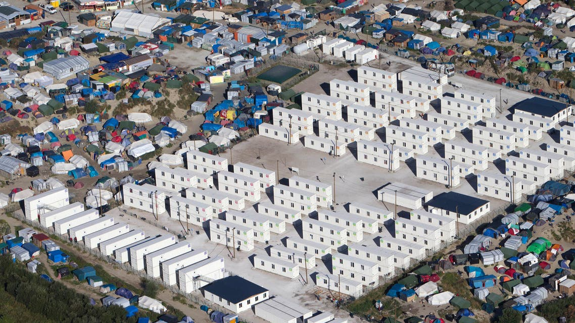 This Aug. 24, 2016 file photo shows an aerial view of the migrant camp in Calais, northern France. AP