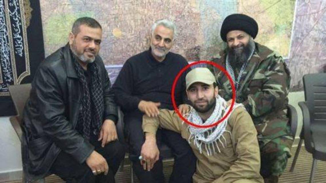 محمد قاسم سليماني مع قاسم سليماني قائد فيلق القدس وعدد من قادة الميليشيات