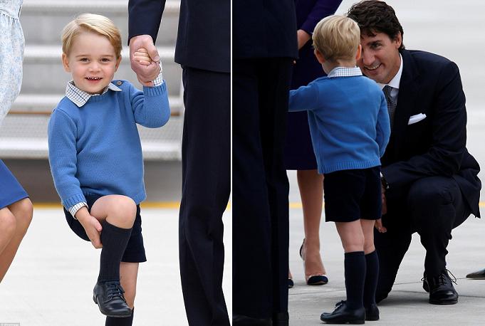 رئيس الوزراء الكندي، جاستن ترودو، يبتسم وهو يرحب بالأمير جورج، فيرد الأمير بضحكة