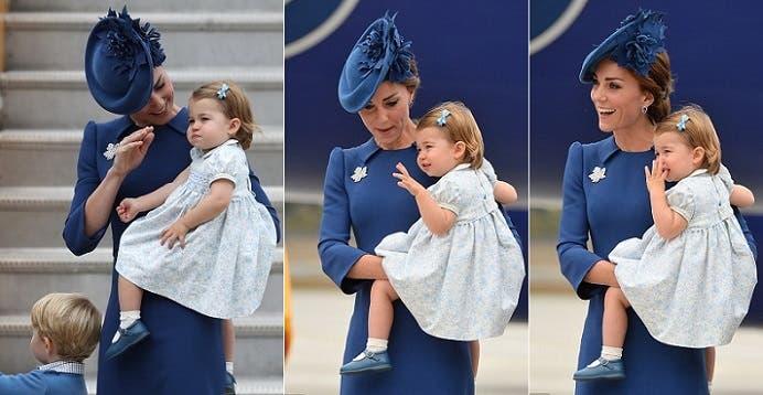 الأميرة شارلوت، البالغ عمرها 16 شهرا، مع والدتها دوقة كامبريدج، كيت ميدلتون، زوجة الأمير وليام