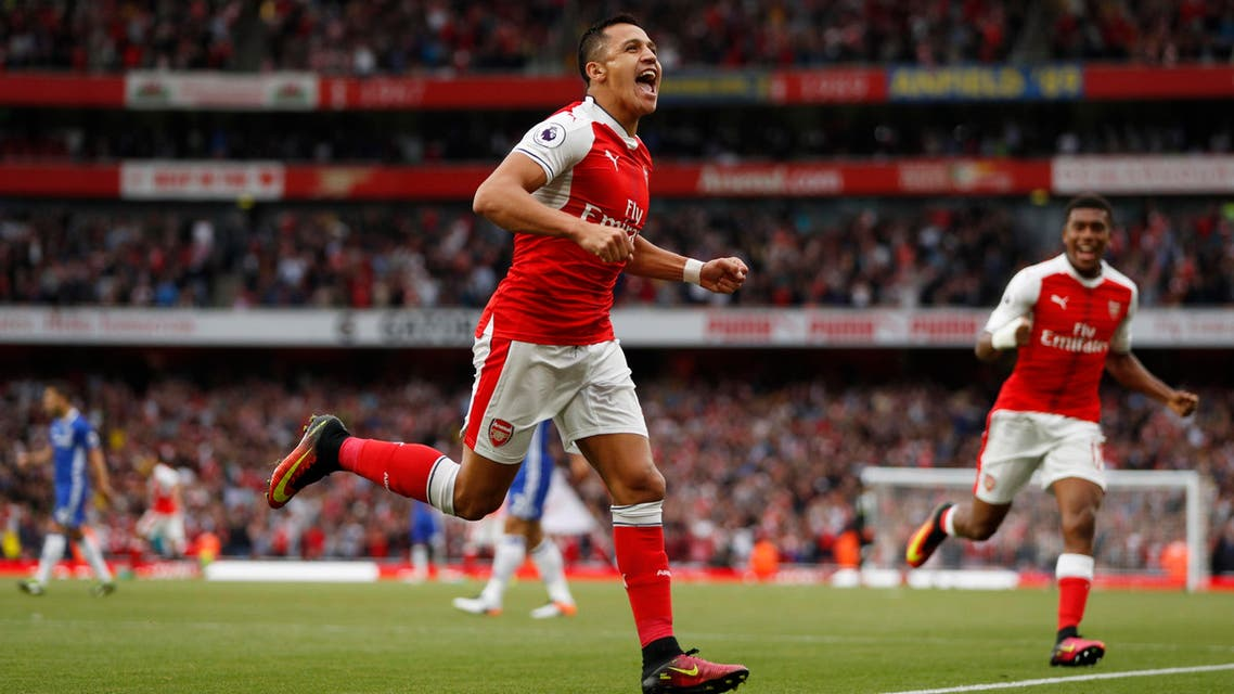 Arsenal's Alexis Sanchez celebrates scoring their first goal Action Images via Reuters