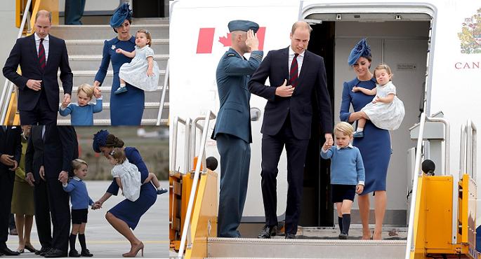 ثلاث صور للدوقيين وابنيهما الأميرين الصغيرين في المطار