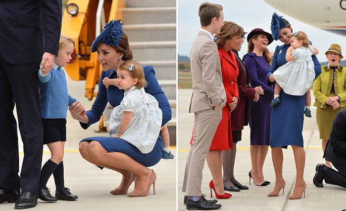 صورتان، واحدة للمستقبلين يتأملون الأميرة الصغيرة، والثانية لجورج مع أبويه وشقيقته