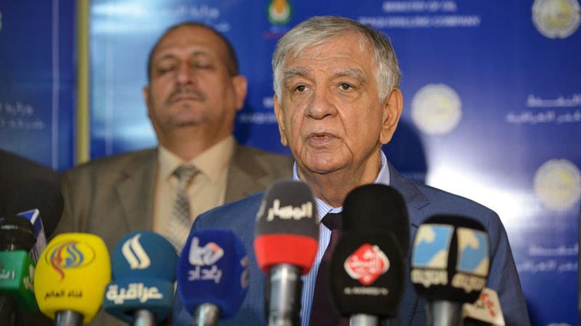 raqi Oil Minister Jabar Ali al-Luaibi speaks during a news conference during his visit to the oil field of Zubair, in Basra, Iraq. (Reuters)