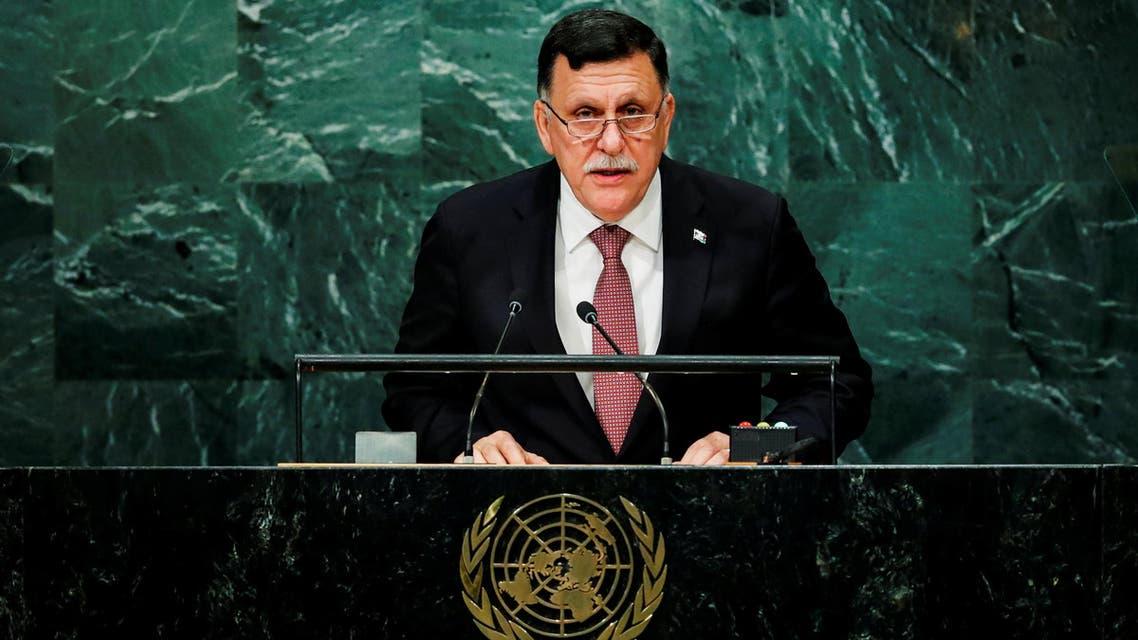 Prime Minister of Libya's unity government Fayez Seraj addresses the United Nations General Assembly in the Manhattan borough of New York, U.S., September 22, 2016. REUTERS/Eduardo Munoz