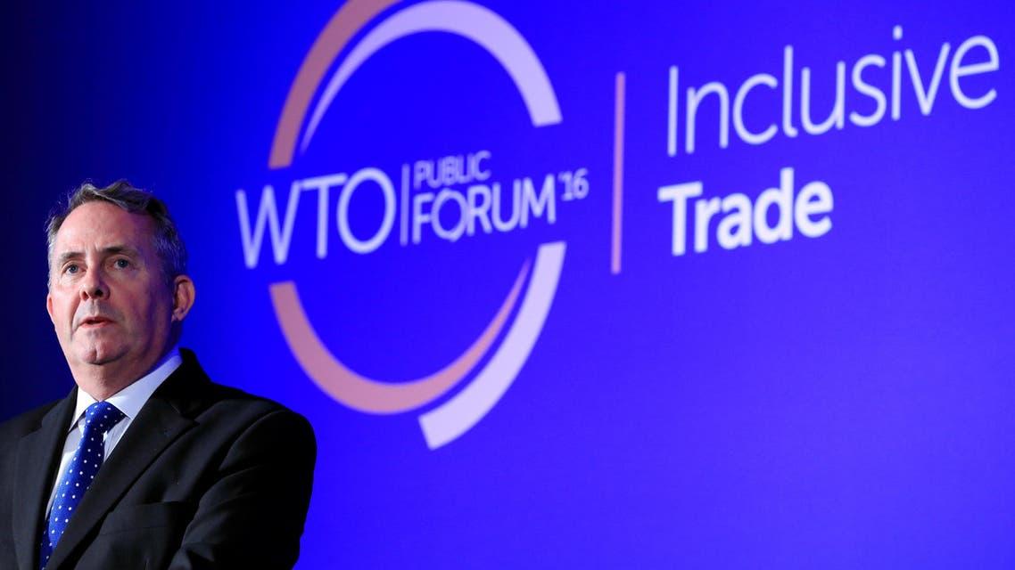 Britain's International Trade Secretary Liam Fox speaks during the WTO annual Public Forum in Geneva, Switzerland, September 27, 2016. REUTERS