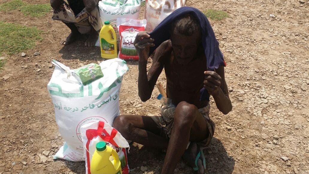 Starving families receive aid in Yemen's Hudaydah