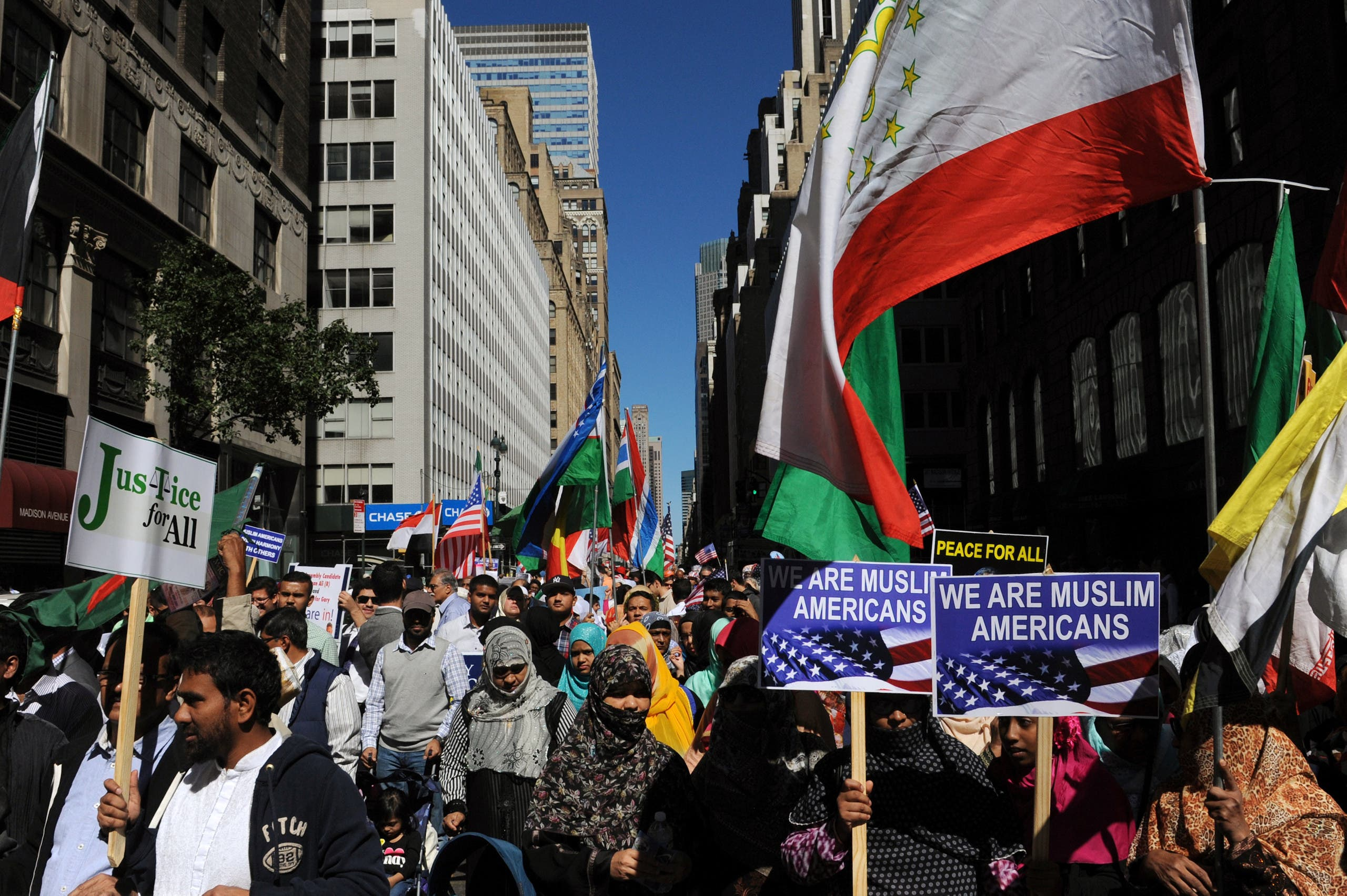 People participate in the annual Muslim Day Parade in the Manhattan borough of New York City, September 25, 2016. REUTERS/Stephanie Keith