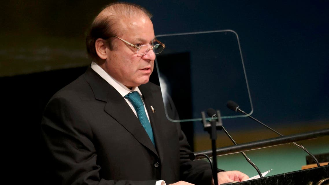 Prime Minister Nawaz Sharif of Pakistan addresses the United Nations General Assembly in the Manhattan borough of New York, U.S., September 21, 2016. REUTERS/Carlo Allegri