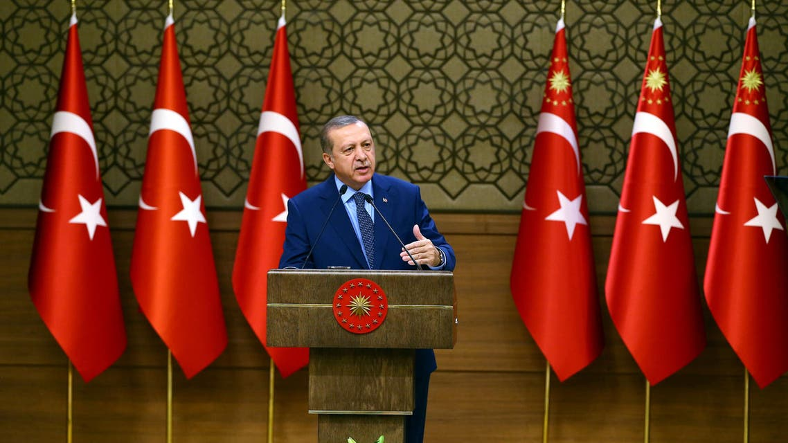 Turkish President Tayyip Erdogan makes a speech during his meeting with mukhtars at the Presidential Palace in Ankara, Turkey, September 29, 2016.