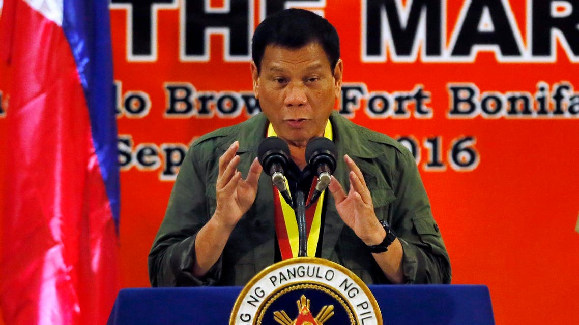 In this Sept. 27, 2016, photo, Philippine President Rodrigo Duterte addresses Philippine Marines in suburban Taguig city east of Manila, Philippines. As the body count mounts in the Philippines' war on drugs, and its combative president's rhetoric plumbs new depths, the mood in Washington toward the key Asian ally is hardening. Influential U.S. lawmakers are warning that the extra-judicial killings in the drugs war _ that Duterte on Sept. 30 compared to the Holocaust _ could affect American aid. (AP)