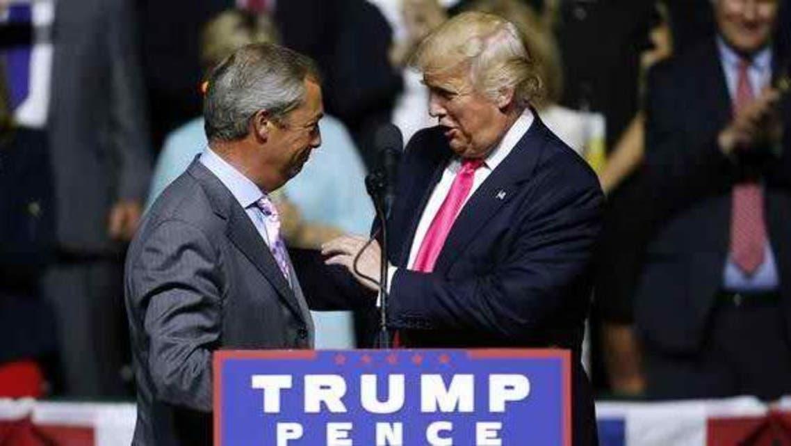 ترامب وفاراج خلال حشد انتخابي في أميركا أغسطس الماضي
