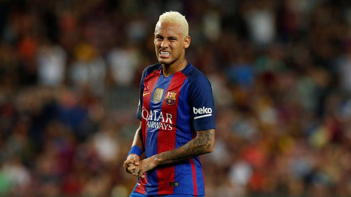Barcelona's Neymar reacts. REUTERS