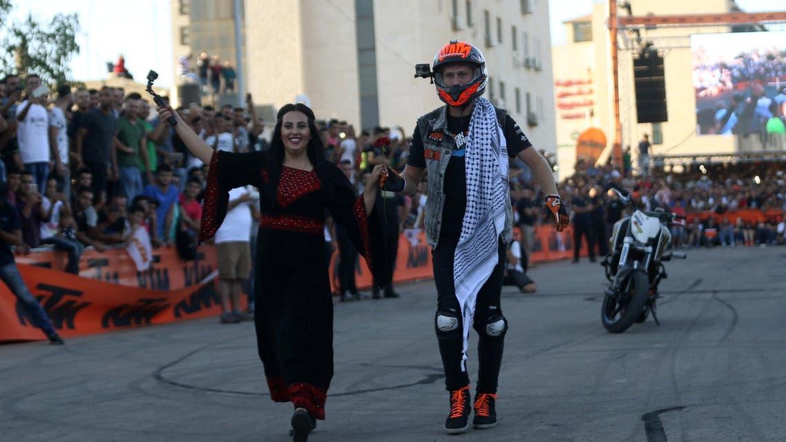 Motor biking stunt show in Palestine