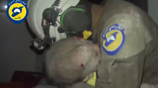 Video: Syrian volunteer cries after rescuing new born baby