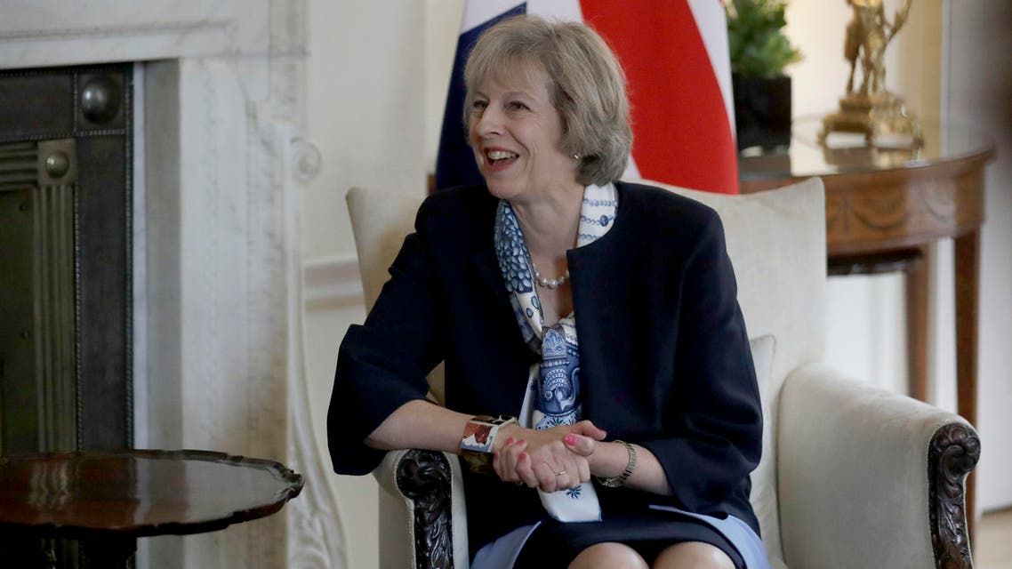 British Prime Minister Theresa May speaks speaks during her meeting with Cyprus President Nicos Anastasiades at 10 Downing Street in London, Tuesday, Sept. 27, 2016. (AP