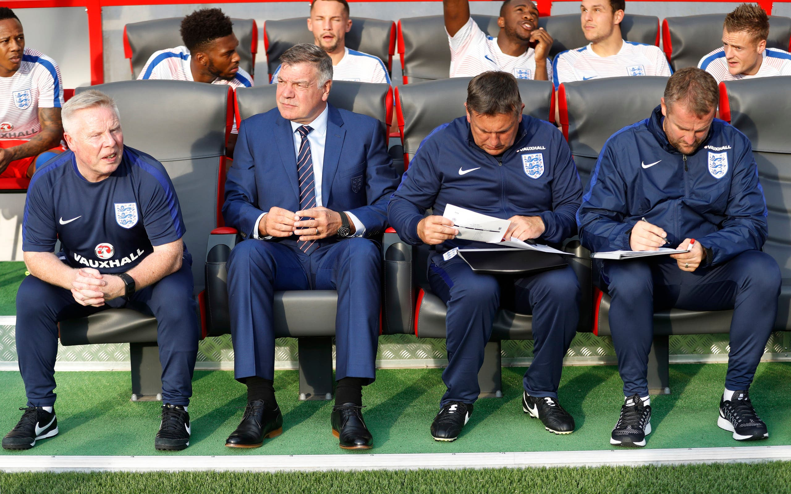 England manager Sam Allardyce and assistant manager Sammy Lee (L) before the match Action Images via Reuters