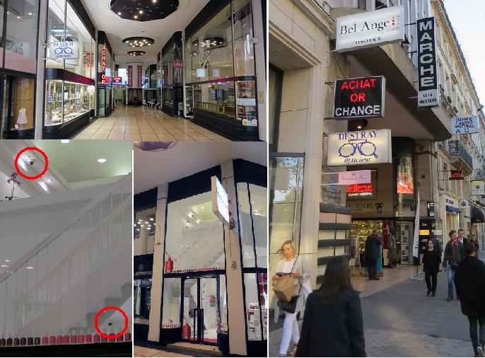 الشارع حيث المركز التجاري وممره المضاء دائما، وفيه صالون تقليم الأظافر، وبداخله كاميرات مراقبة