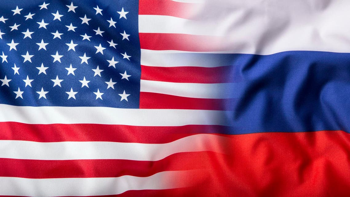USA and Russia. Usa flag and Russia flag روسيا أميركا