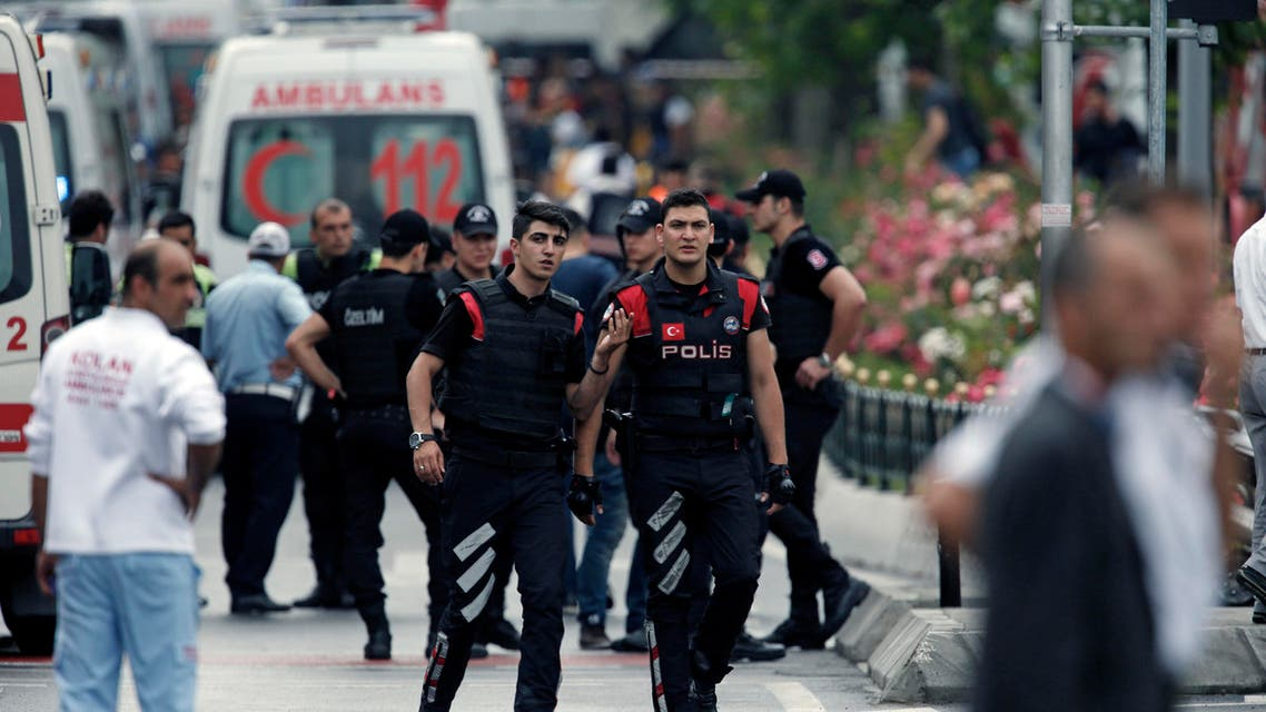 Turkish police and ambulances gather at the scene of a blast after an explosion in Istanbul, Tuesday, June 7, 2016. (AP)
