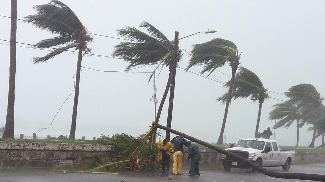 Maintenance workers try to remove a tree from a road in Nassau, New Providence island in the Bahamas, on October 6, 2016, after the passing of Hurricane Matthew. (AFP)