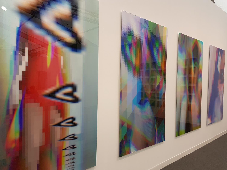 "Artist Sophia al Maria's ""Sisters I"" at the The Third Line gallery booth. (Saffiya Ansari/ Al Arabiya English)"