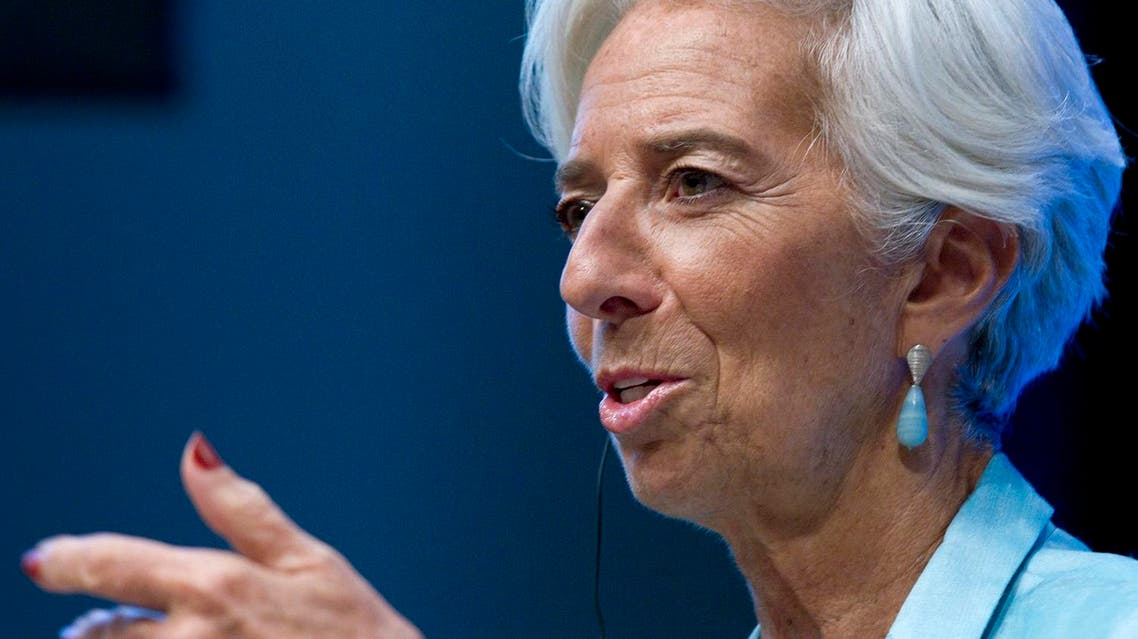 International Monetary Fund (IMF) Managing Director Christine Lagarde speaks during a news conference after the International Monetary and Financial Committee (IMFC) meeting at World Bank/IMF Annual Meetings at IMF headquarters in Washington, Saturday, Oct. 8, 2016. ( AP Photo/Jose Luis Magana)