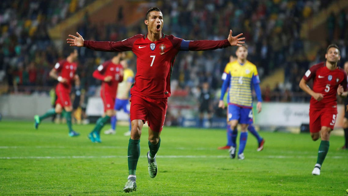 Portugal's Cristiano Ronaldo celebrates his second goal against Andorra. REUTERS