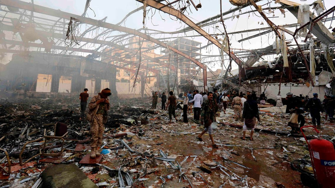 Yemeni security and medical officials say at least 45 people have been killed in a Saudi-led coalition airstrike that targeted a funeral hall in the capital, Sanaa. The officials say at least another 100 have been wounded in the Saturday strike. (AP)
